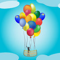 Hotair balloon in flight a vector illustration of balloons used as a with a wooden basket with a person it surrounded by clouds Stock Photo