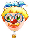 Hotair balloon with jester face Royalty Free Stock Photo