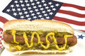 Hotdog with American Flag Royalty Free Stock Photo