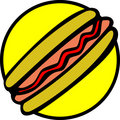 hotdog with bread, sausage and ketchup. Vector Royalty Free Stock Photo