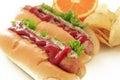 Hotdog on the white background Royalty Free Stock Photos