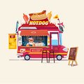 Hotdogs Food Truck‎. Street Food Truck concept with merchant c