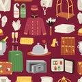 Hotel or accommodation icon set travel symbol service reception luggage seamless pattern vector illustration