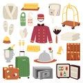 Hotel or accommodation icon set travel symbol service reception luggage suitcase vector illustration