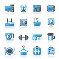 Hotel amenities services icons vector icon set Royalty Free Stock Image