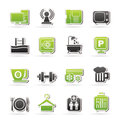 Hotel amenities services icons vector icon set Royalty Free Stock Photo