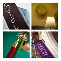 Hotel atmosphere collage of close up and various Stock Images