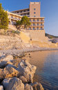 Hotel on the beach at sunrise in mallorca spain Royalty Free Stock Photography