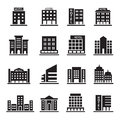 Hotel Building, Office tower, Building icons set illustration Royalty Free Stock Photo