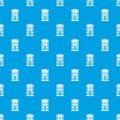 Hotel building pattern seamless blue