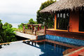 Hotel bungalow on phi phi island exterior of with swimming pool thailand Royalty Free Stock Image