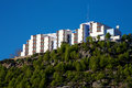 Hotel in chefchaouen on top of the hill the rif mountains Stock Photo