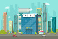 Hotel in the city view vector illustration, flat cartoon hotel building on street road and big skyscraper town landscape Royalty Free Stock Photo