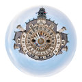 Hotel de ville city hall in paris little planet urban spherical view of isolated on white background Stock Images