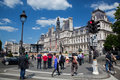 The hotel de ville paris france june a place next to hosts a huge screen broadcasting tennis roland garros tournament on june at Royalty Free Stock Images