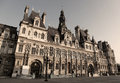 Hotel de ville paris town hall of known as the h tel or mairie is the seat of the municipality of sepia image Royalty Free Stock Image