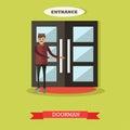Hotel doorman vector illustration in flat style