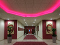 Hotel entrance hall lobby of mercure with red carpet in manchester england uk Royalty Free Stock Photography