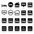 Hotel, hostel, b&b with stars icons set Royalty Free Stock Photo