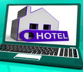 Hotel house laptop means holiday accommodation and vacant rooms meaning Royalty Free Stock Photos