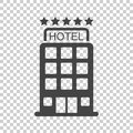 Hotel icon on isolated background. Simple flat pictogram for bus