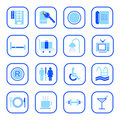 Hotel icons - Blue Series Royalty Free Stock Photo
