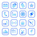Hotel icons - Blue Series Stock Photography