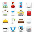 Hotel icons set bed room website plate Stock Images