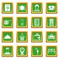 Hotel icons set green