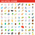 100 hotel icons set, isometric 3d style Royalty Free Stock Photo