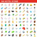 100 hotel icons set, isometric 3d style Royalty Free Stock Photo
