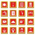 Hotel icons set red