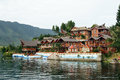 Hotel on island big the samosir of lake toba indonesia Stock Photo
