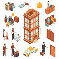 Hotel Isometric Icons Set Royalty Free Stock Photo