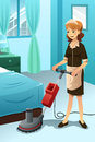 Hotel janitor cleaning the hotel room a vector illustration of floor with machine Royalty Free Stock Photo