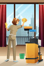 Hotel janitor cleaning the hotel room a vector illustration of window with mop Stock Photos