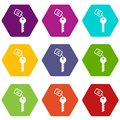 Hotel key icon set color hexahedron Royalty Free Stock Photo