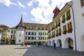 Hotel krone at the town hall square in thun switzerland september former guild house under name house of pfistern pfister now Royalty Free Stock Photos