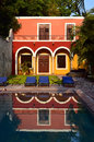 Hotel in mexico with reflection swimming pool Royalty Free Stock Image