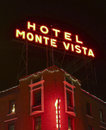 A hotel monte vista sign at night flagstaff arizona december east aspen avenue on december in flagstaff arizona locals and Royalty Free Stock Photo