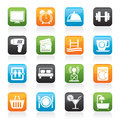 Hotel and motel facilities icons vector icon set Stock Image