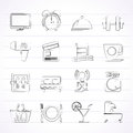 Hotel and motel facilities icons vector icon set Stock Photos