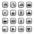Hotel and motel icons Royalty Free Stock Photo