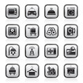 Hotel and motel room facilities icons Royalty Free Stock Photo