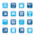 Hotel, motel and travel icons Royalty Free Stock Photo