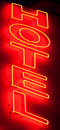 Hotel neon sign Stock Image