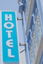 Hotel neon sign a photo taken on a blue Stock Photography