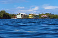 Hotel over water in the caribbean sea viewed from surface Stock Photos