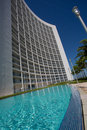 Hotel pool an scene with miami brickell bay skyline as background Royalty Free Stock Photo