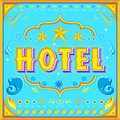 Hotel poster illustration of in indian truck paint style Royalty Free Stock Photography
